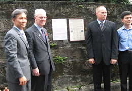 Representatives (l-r) from ROC Veterans Affairs Commission, Taiwan POW Camps Memorial Society, American Institute in Taiwan and Dep't of Cultural Affairs Taipei City Gov't. at the unveiling of the plaque.